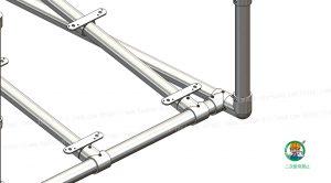金具・単管パイプ組立て状態、スロープ下部
