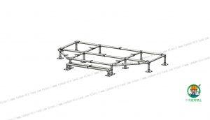 階段付ウッドデッキ、金具・単管パイプ組立状態