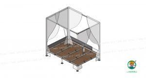 天蓋付ベッド、下面の状態