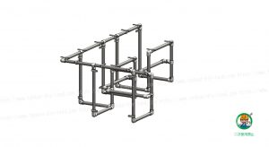 カウンターテーブル、金具・単管パイプ組立て状態