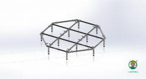 八角形ベンチ、金具・単管パイプ組立て状態