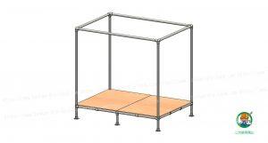 天蓋付ベッド、金具・単管パイプ、ベニア板組立状態