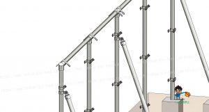 塀、金具・単管パイプ組立て状態、屋根部