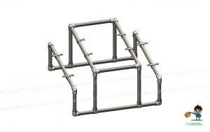 ガーデンテーブル、金具・単管パイプ組立て状態