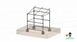 自転車小屋、金具・単管パイプ組立て状態
