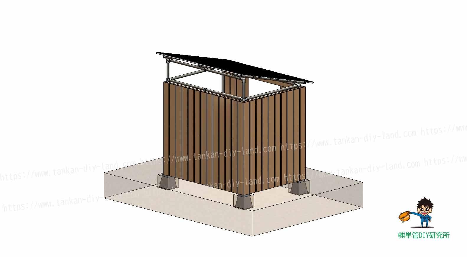 単管パイプ 自転車小屋